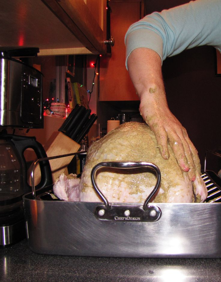 Roasted turkey - no brining rubbed with herb butter basted with wine/butter