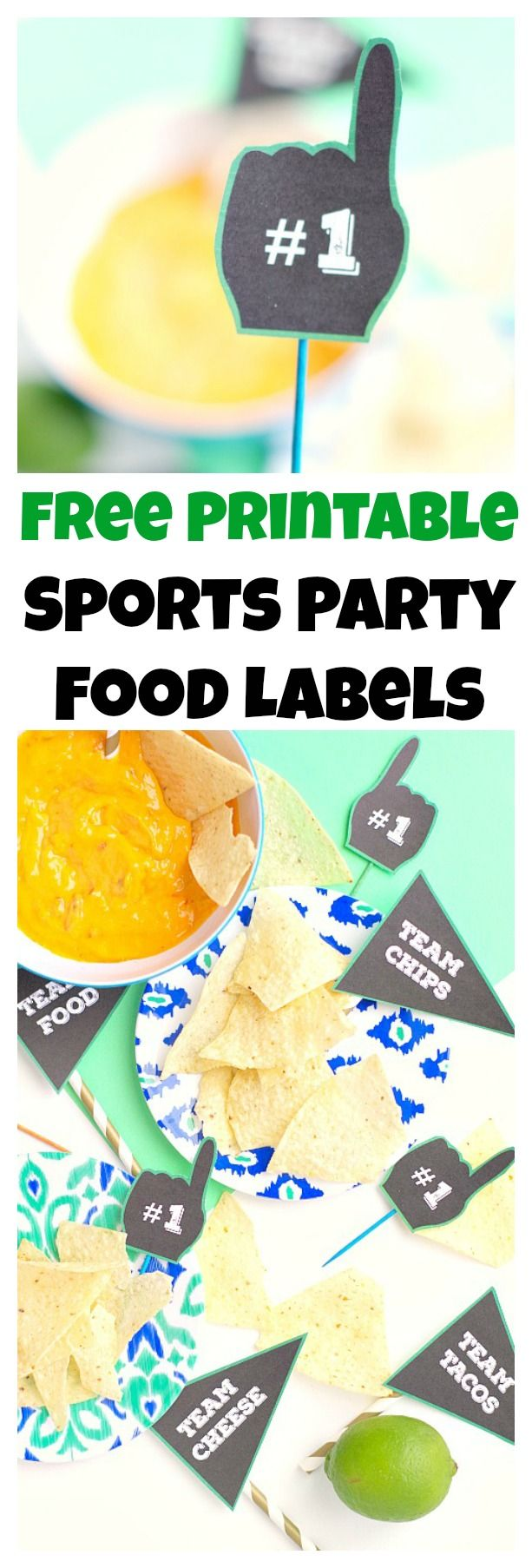 Free printable sports party food labels to show your food team spirit at the big game. These are perfect for the Super Bowl or sports birthday parties.
