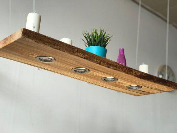 Blutbuche Led Hangelampe 100cm 4 Leds Massivholz Rustikal Wood Ceiling Lamp Hanging Lamp Vintage Living Room