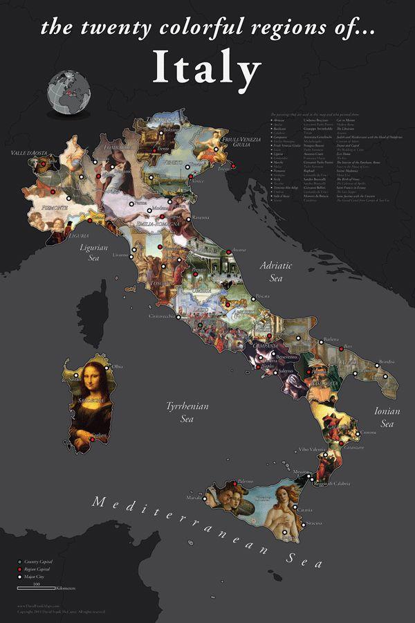 Twenty Colorful Regions Map of Italy