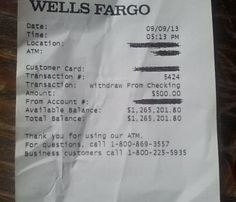 wells fargo million dollar receipt   Wells Fargo ATM Receipt with $1.2 million