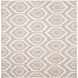Safavieh Moroccan Reversible Dhurrie Grey/Ivory Wool Indoor Rug (8' Square) - Overstock™ Shopping - Great Deals on Safavieh Round/Oval/Square