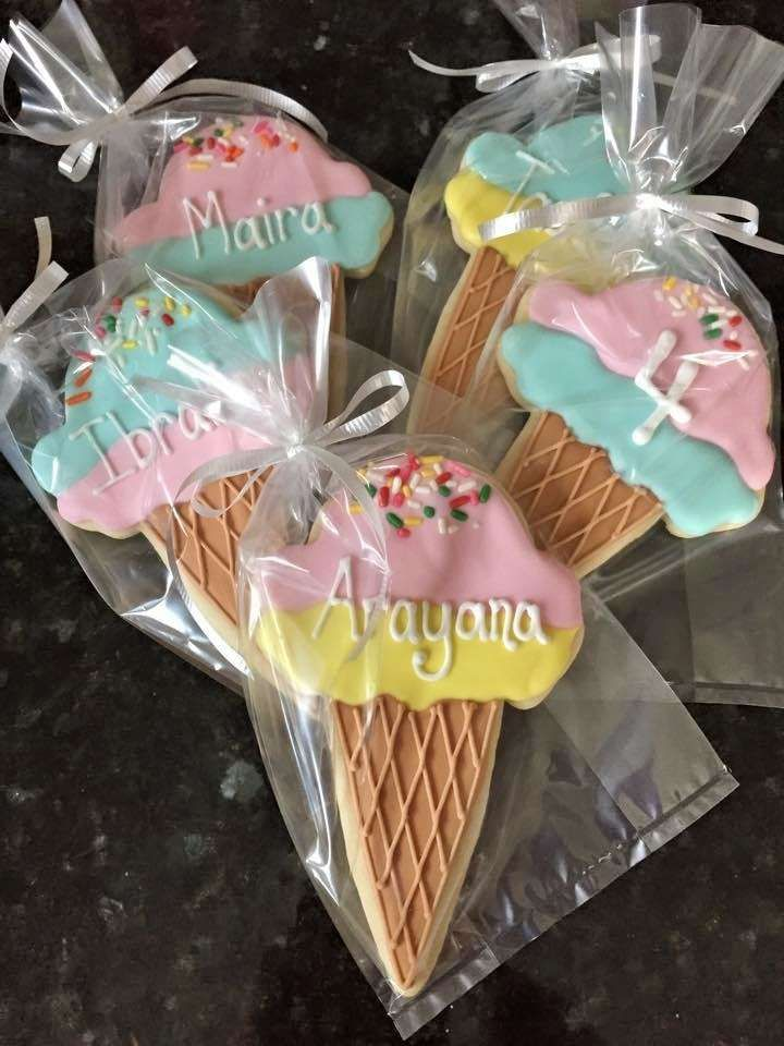 Cookies at an ice cream birthday party! See more party planning ideas at CatchMyParty.com!