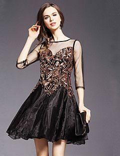 Jojo Ганса женщин происходит из сексуальный / милый платье оболочки, твердый вокруг шеи выше колена ¾ рукав черный шелк