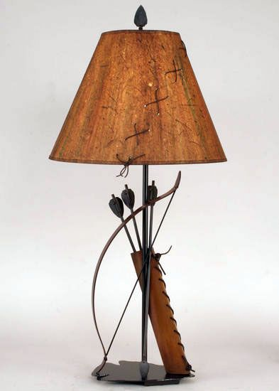 Iron bow and arrow with quiver table lamp south western decor