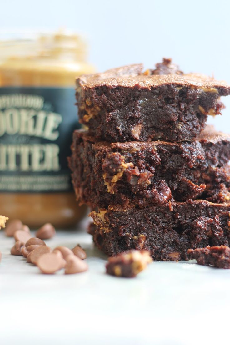 Cookie Butter Brownies - rich, thick brownies filled with Trader Joe's Cookie Butter!