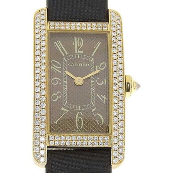 Pre-owned Cartier Tank Americaine 2482 18K Pink Gold with Diamond... (47.200 BRL) ❤ liked on Polyvore featuring jewelry, watches, pre owned watches, brown leather band watches, rose gold watches, rose gold jewelry and diamond jewelry