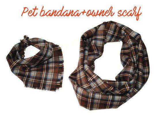 dog accessories dog owner matching scarf and pet bandana cat lover gifts for dog lovers brown plaid pets bandanas small dog birthday gifts