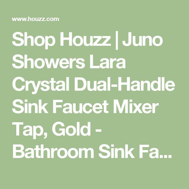 Shop Houzz | Juno Showers Lara Crystal Dual-Handle Sink Faucet Mixer Tap, Gold - Bathroom Sink Faucets