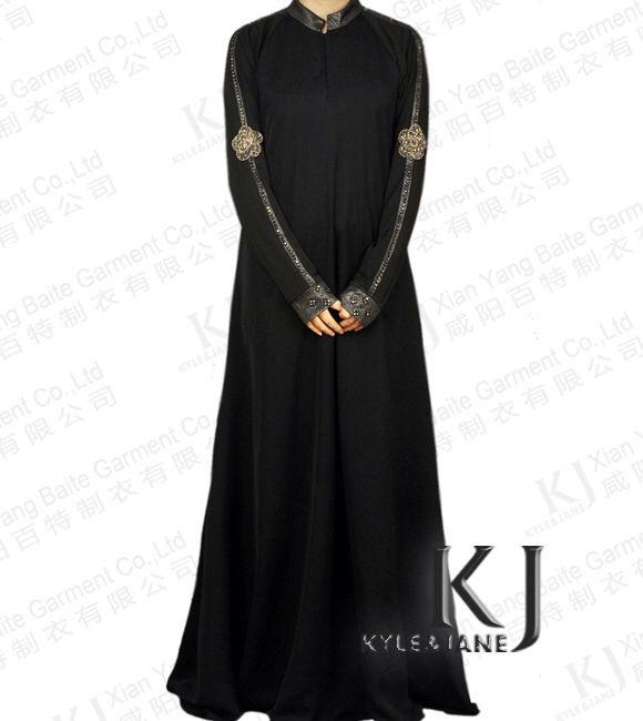 On Sale 2015 New Designs High Quality  Dubai Abaya With Embroider For Women Fancy Black Abaya Jilbab Muslim Dress Islamic Abaya