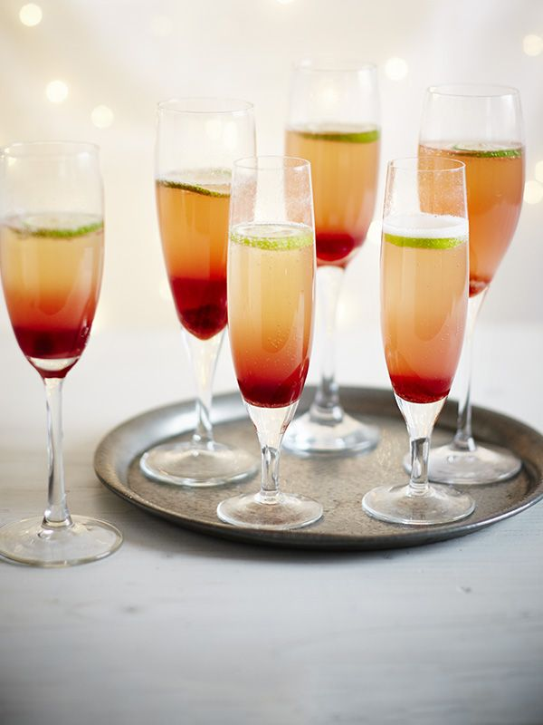 Homemade grenadine and champagne cocktails recipe ...
