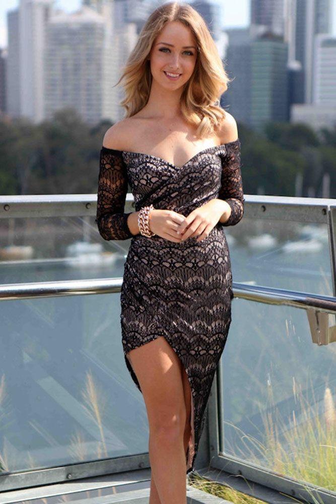 Black lace off shoulder maxi dresses in usa