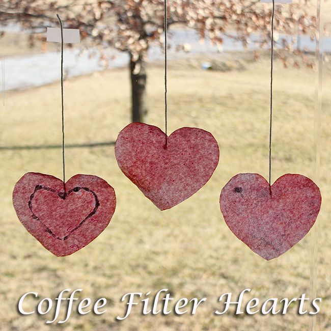 Valentine Coffee Filter Hearts are fun and easy to make, and they look  great hanging