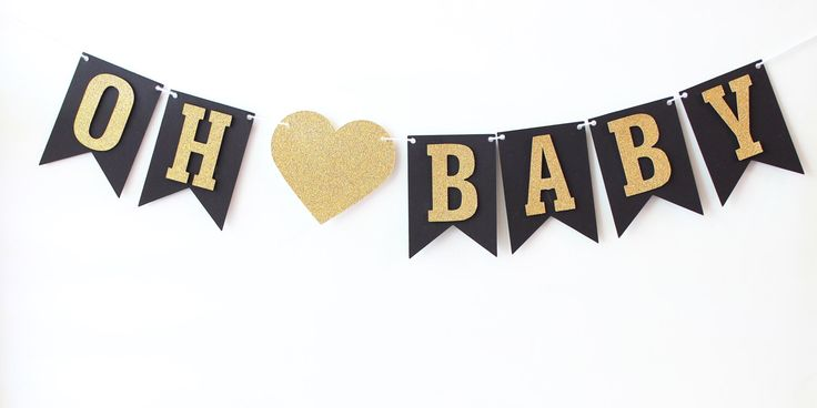 Oh Baby Banner, Baby Shower Banner, Black & Gold Baby Shower Decor, Gold Glitter, Modern Baby Shower, Pregnancy Banner, Baby Announcement by MailboxHappiness on Etsy https://www.etsy.com/listing/238971168/oh-baby-banner-baby-shower-banner-black