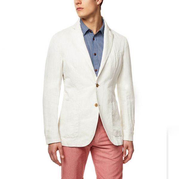 Loving the coloured chinos with the white blazer.  from: 10 Summer Essentials - AskMen