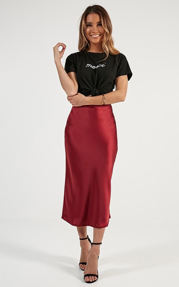 Space Odyssey Midi Skirt In Wine Satin Produced