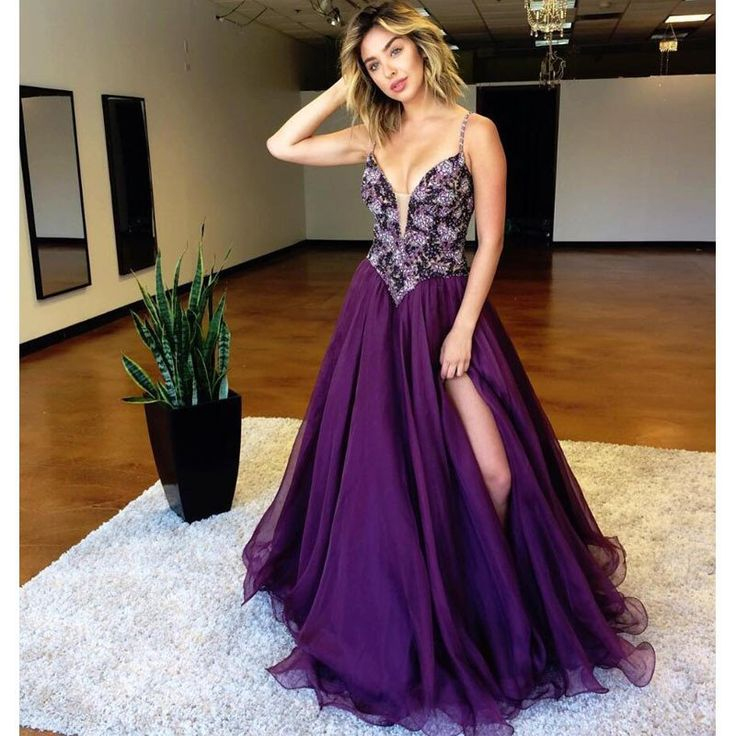 Purple V Necl Beaded Top Evening Ball Gown Long Prom Dresses, BG51526 The dress is fully lined, 4 bones in the bodice, chest pad in the bust, lace up back or zipper back are all available. This dress