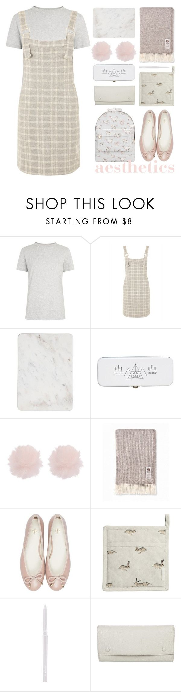 """""""calm"""" by foundlostme ❤ liked on Polyvore featuring SELECTED, Topshop, Sophie Allport, MAC Cosmetics, CÉLINE, Mi-Pac, soft and pastel"""