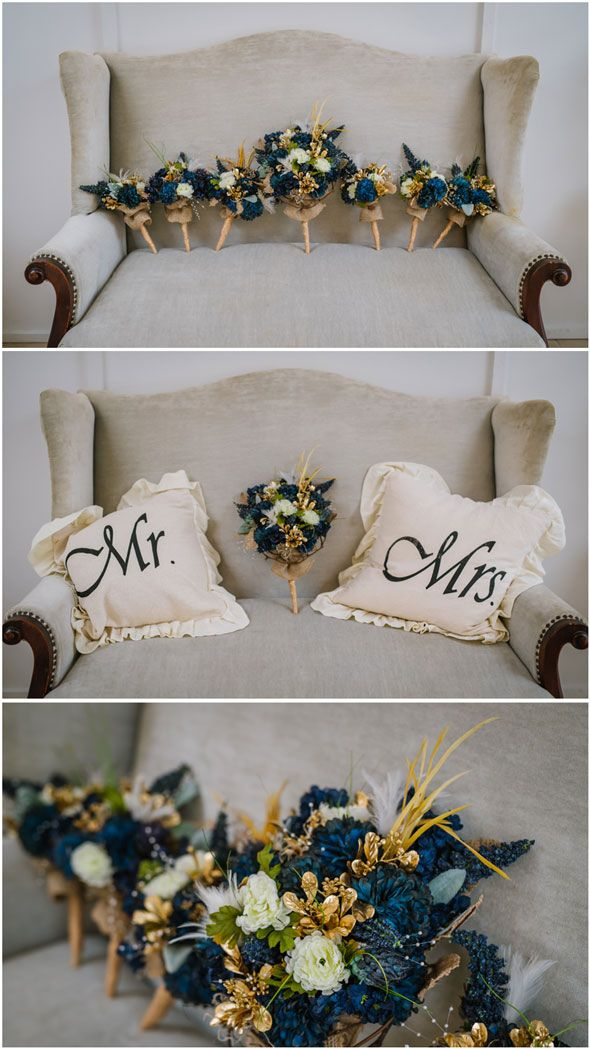 Gorgeous Teal & Gold Wedding Flowers - Teal & Lace Southern Wedding Feature - www.prettymyparty.com
