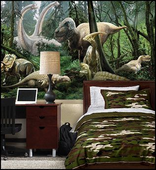 Isaac says he loves this one.    Dinosaur Jungle wall mural. Dinosaur theme bedroom decorating ideas. Delight your boy with the spirit and dreams of exciting dinosaurs traveling through Dino-land! The stimulating and attractive Jurassic Dinosaur and Dino Bones