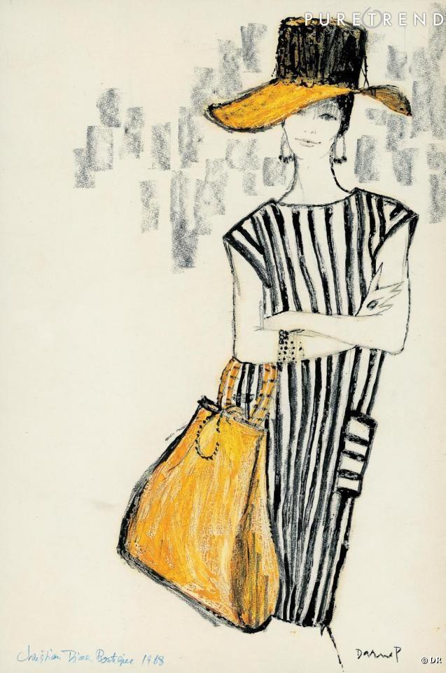 Dessin de Jacques Darnel pour Christian Dior Boutique paru dans le Jardin des modes, 1968. Collection Jacques Darnel