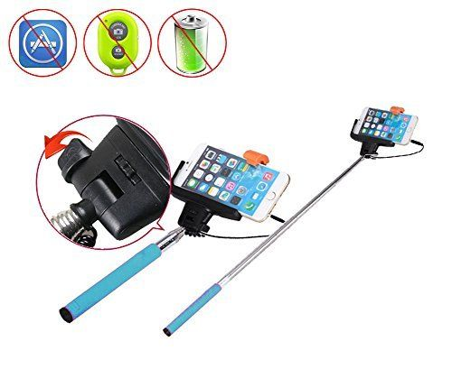 Rubility® Plug And Play Wire Extendable Handheld Telescopic Self Portrait Selfie Stick for Smartphone Camera Blue. Compatible with Android 4.2.2 and iPhone iOS 5.01 system above phone. Light weight, easy to take, with a wrist strap include. Adjustable ball head and thumb screw locks for multiple angle shooting with 360 degrees position. Comes with a phone clip, supports wideth between 5.5CM-9CM. Once having, never need to worry about taking good pictures.
