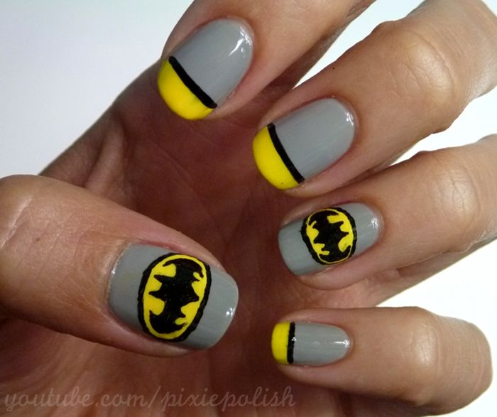 15 Great Batman Nail Art Designs for Kids - Pretty Designs - 50 Best Nails: Superheroes Images On Pinterest Batman Nail Art
