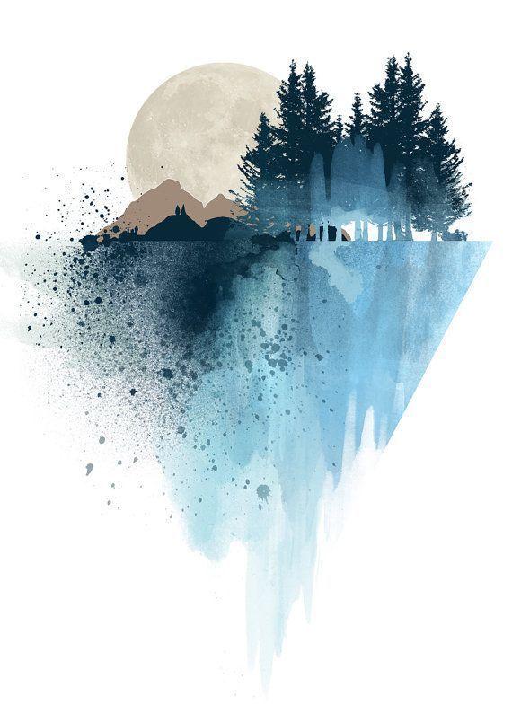 Blaue Bergwandkunst, Kunstdrucke, Aquarell, Poster…