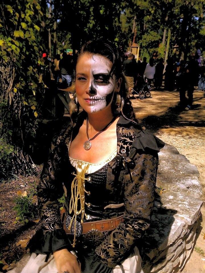 Half Skull Face Pirate Costume Texas Renaissance