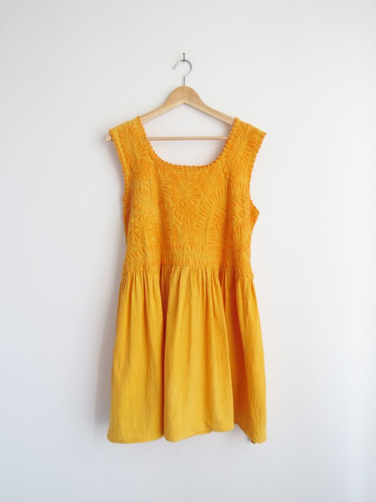 Saffron Embroidered Dress // Vintage Yellow Dress from India