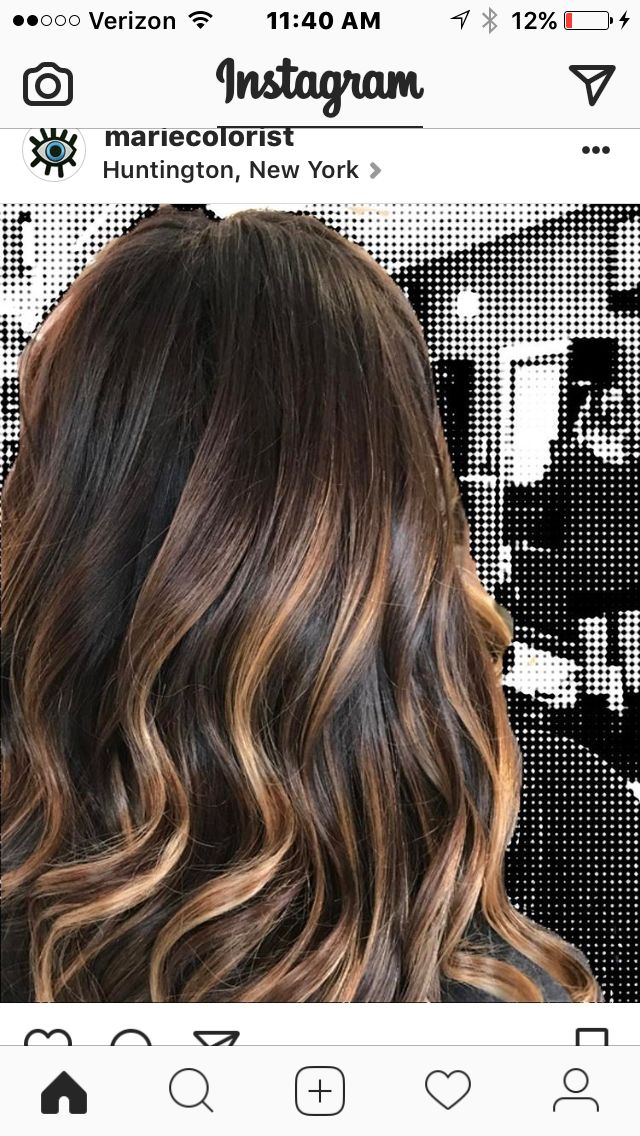 Dark brunette with caramel ribbons throughout