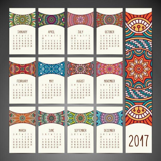 Calendar Design Free Vector : Design de boho calendário do estilo vetor e