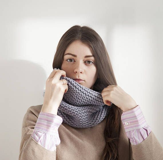 Gray Cowl Scarf for Women, Light Grey Womens Chunky knit Scarf, Winter or Spring double sided Scarf for Men, Unisex hooded scarf, Hand Knit