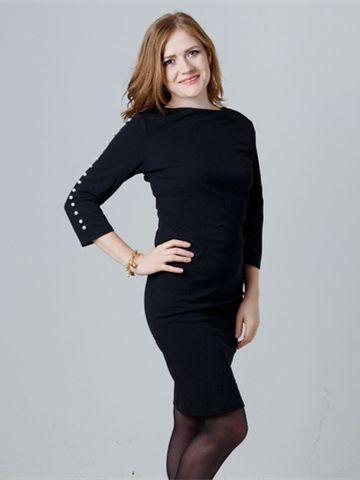 a6231373bd Pearl Beading Form Fitting Black Dress   Officewear   Dresses ...