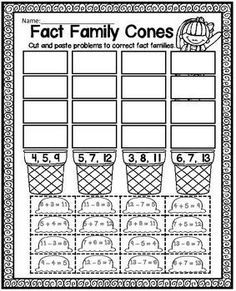 FREE Fact Families Printable Worksheet - Use this freebie to help your 1st or 2nd grade classroom or home school students master their fact families. This fun, engaging worksheet has students cut & paste the correct answers into place. Students will be addition and subtraction pros with this! Use this with math centers or station, as review, for homework, review work, seat work, early or fast finishers, and more. Get it now!! {first & second graders}