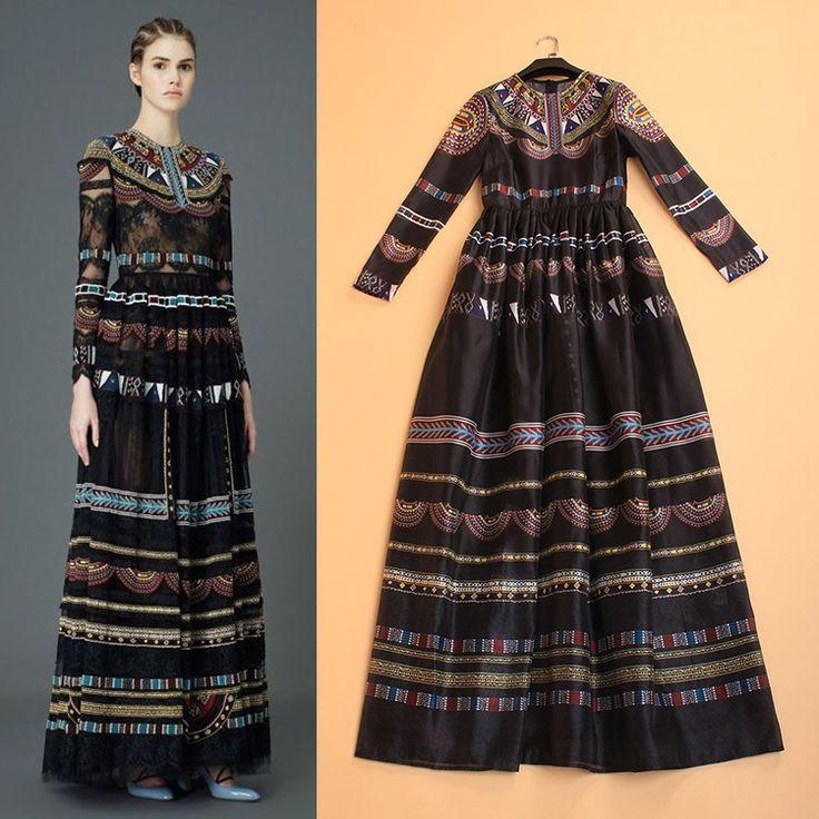 HIGH QUALITY 2015 Newest Designer Maxi Dress Women's Long Sleeve Vintage Floral Printed Retro Long Dress alishoppbrasil