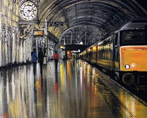 ~By Paul Kenton~ I think that this paining captures the mundane and normal sense that is related to urban life. I love the way in which the artists has included the reflection in the floor and his use of colours. I think that it would be interesting trying to capture the sense of urban areas or landscapes e.g. a busy supermarket, a deserted playground etc.