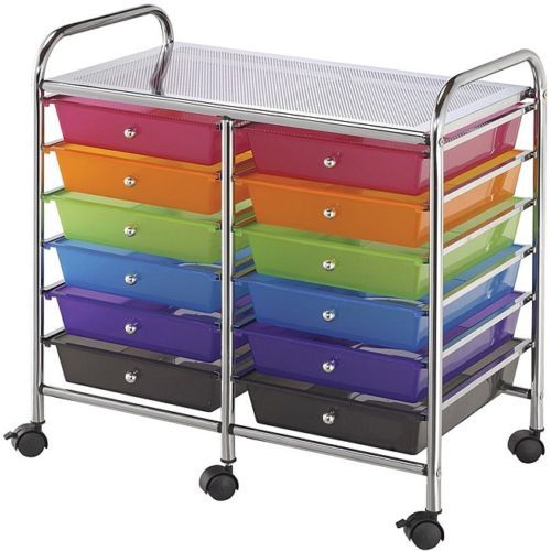 Rolling Storage Cart 12 Drawer Kids Art Supply Double Wide Organizer Multicolor | eBay