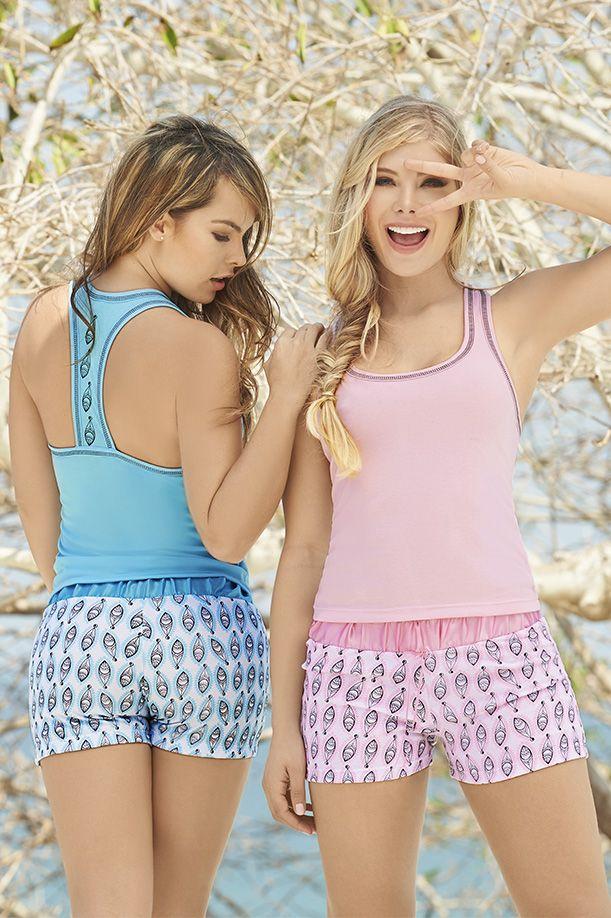 Pijama manga larga – pantalón Menta-  rosa  - fresa S-M-L-XL Poliéster - algodón