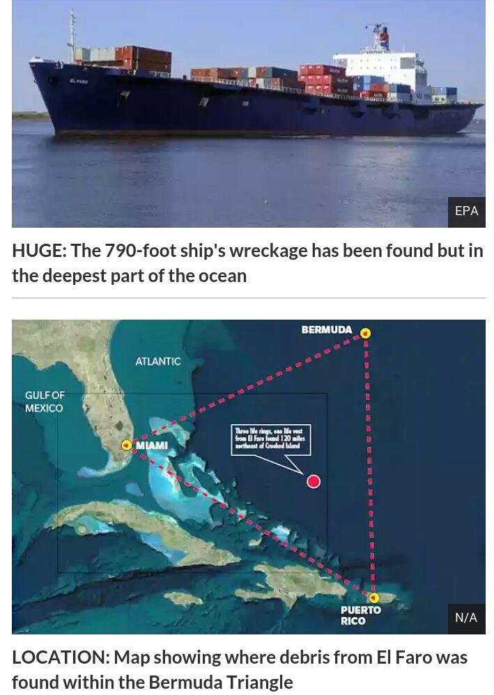 SCANFACT Cargo ship El Faro missing Has THE BERMUDA TRIANGLE has