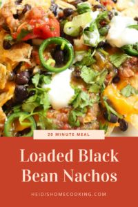 Loaded black bean nachos are the perfect dinner solution on a busy night. These can be made in 20 minutes or less and are absolutely irresistible! They are made with beans, cheese, salsa, guacamole, and cilantro. For extra spice or creaminess you can add jalapenos and sour cream. These cheesy chips are perfect for hungry teenagers and kids!