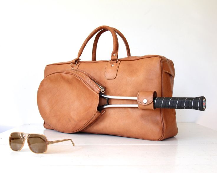vintage leather duffle bag. Tennis bag. Natural cowhide leather gym bag. Tan leather duffel bag. Rustic athletic 1980s vintage holdall by Luncheonettevintage on Etsy