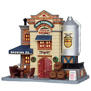 Coventry Cove by Lemax -Christmas Village Building, Olde Firehouse Pizza & Brewery.