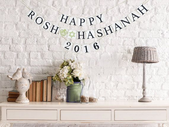 Rosh Hashanah 2016 Banner, perfect for party decoration and celebrating new year;  Rosh Hashanah 2016 Banner Details:  -Chipboard: white 4 * 4 -Lettering card stock: black, and light green (glitter card Stock) - Brown Twine.    We offer custom design to o