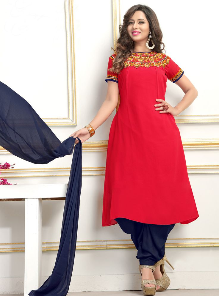 Red Georgette Readymade Patiala Suit 89334