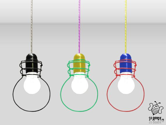 "Lampada a sospensione ""BULBO"", Lampadario sagoma filo metallico, lampada a sospensione nera modellata a mano"