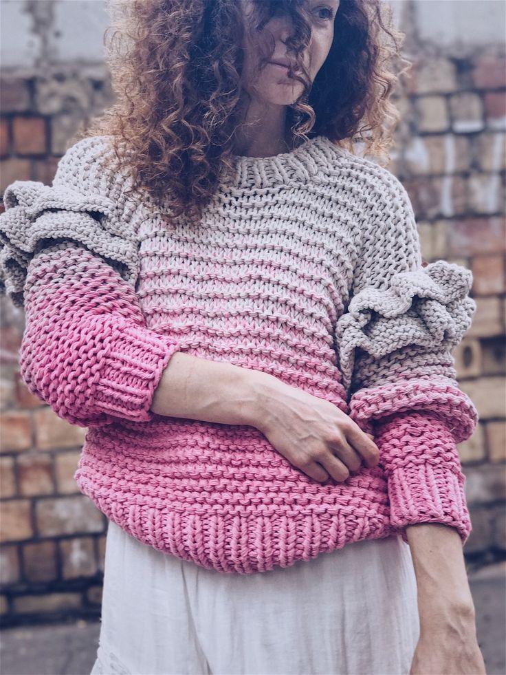 Купить Большой розовый свитер - oversize, свитер вязаный, свитер женский, свитер oversize