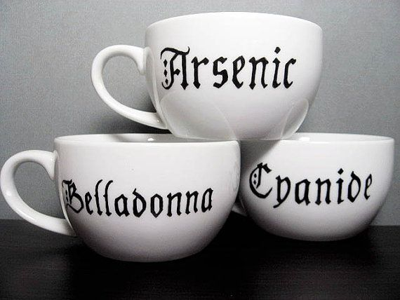 Coffee Cup Ominous ABC's Hand Painted Tea Cups by BurkeHareCo