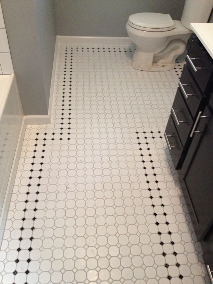 Retro Inspired Octagon And Dot Bathroom Floor Tile With