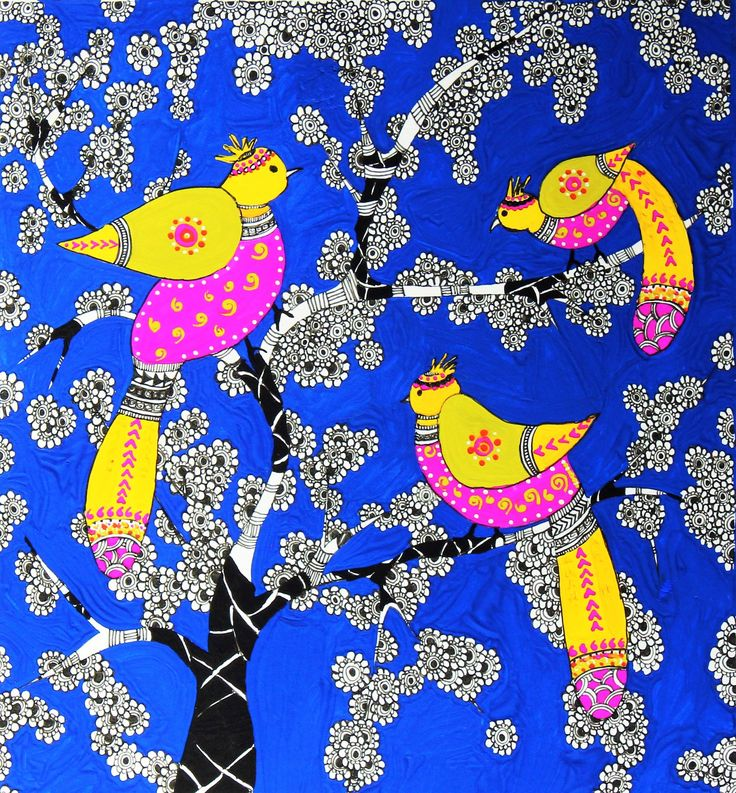 Folk Art/ Ethnic Art. Birdies In Gouache/Watercolours. By- Aditi Sengupta